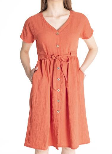 Stamina V Yaka Kısa Kollu Beli Kemerli Elbise Kırmızı